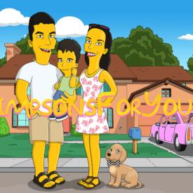Подарок семье (на фоне дома симпсонов)